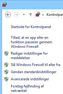 Venstre rude i Windows Firewall