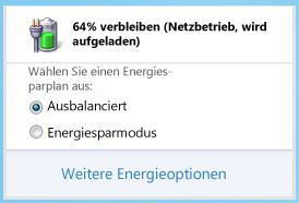 Akkumessanzeige mit Energiesparplnen