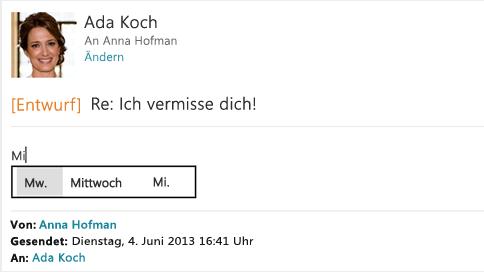 Textvorschläge beim Eingeben einer E-Mail