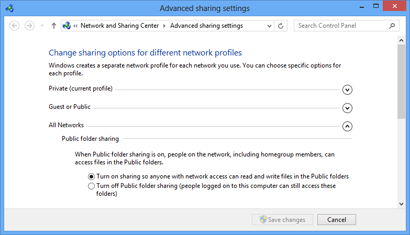Sharing options for all networks