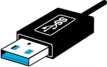 USB-aansluiting met een intern, blauw label