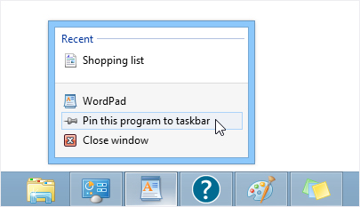 Pinning an app to the taskbar