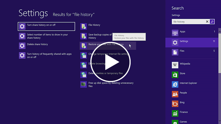 Tap or click to watch a video about restoring deleted or previous versions of your files.