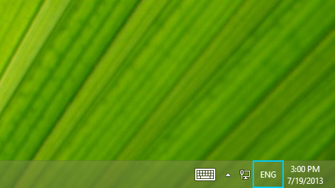 Language abbreviation button in the desktop taskbar