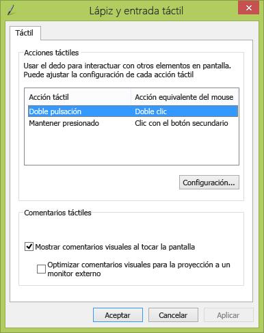 Configuración de lápiz y entrada táctil