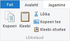 Lõikelauasuvandid File Exploreris
