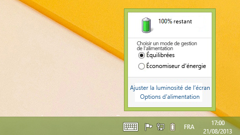 Jauge de la batterie affichant les modes de gestion de l'alimentation
