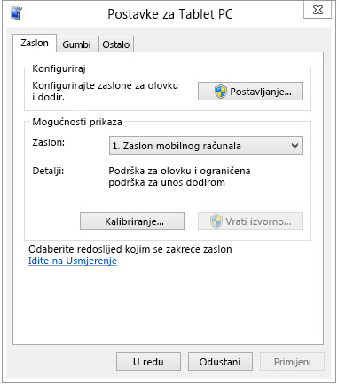 Postavke za tablet PC