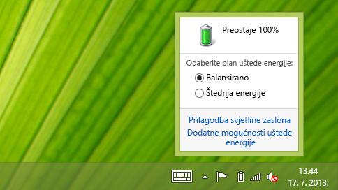 Mjerač baterije s planovima uštede energije
