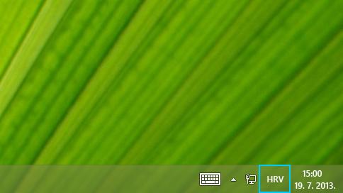 Gumb kratice jezika na programskoj traci radne površine