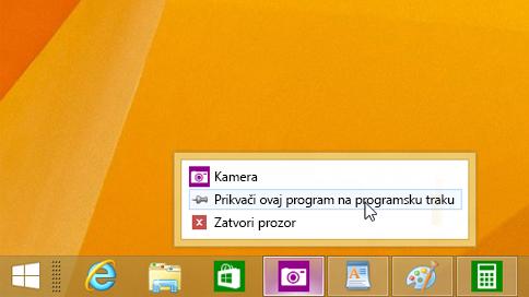 Prikvačivanje aplikacije na programsku traku