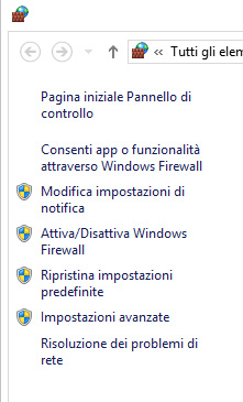 Riquadro sinistro di Windows Firewall