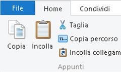 Opzioni degli Appunti in Esplora file