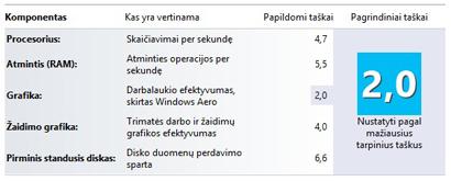 """""""Windows"""" patirties indekso skaičiai efektyvumo informacijoje ir įrankiuose"""