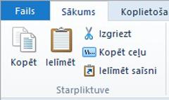 Starpliktuves opcijas failu pārlūkā