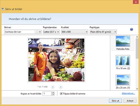 Dialogboksen Skriv ut bilder
