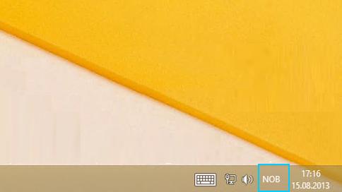 Språkforkortelsesknappen på oppgavelinjen på skrivebordet