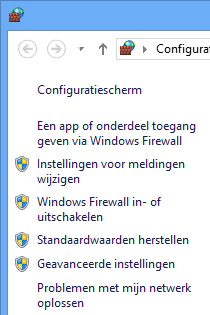 Linkerdeelvenster van Windows Firewall