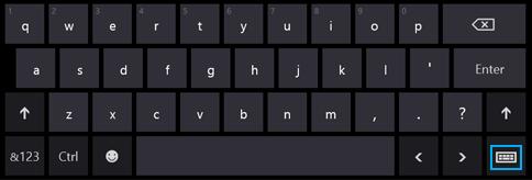 Knop Schermtoetsenbord op het schermtoetsenbord