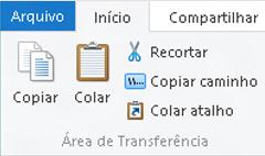 Opções de área de transferência no Explorador de Arquivos