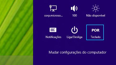 Botão Configurações mostrando a abreviação do método de entrada selecionado