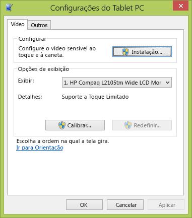Configurações do Tablet PC