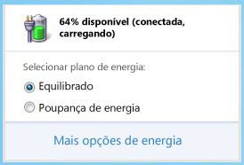 Indicador de bateria com a indicao dos esquemas de energia