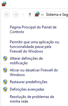 Painel da esquerda da Firewall do Windows