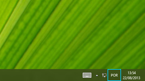 Botão de abreviatura do idioma na barra de tarefas do ambiente de trabalho
