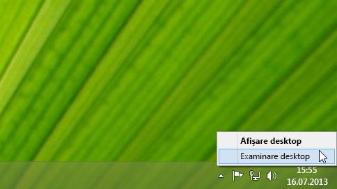 Efectuarea unui clic dreapta pe butonul Afișare desktop