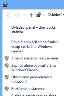 Ľavá tabla programu Windows Firewall