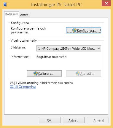 Inställningar för Tablet PC